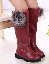 cheap -Girls' Shoes Leatherette Fall Winter Comfort Fashion Boots Boots For Casual Burgundy Red Black