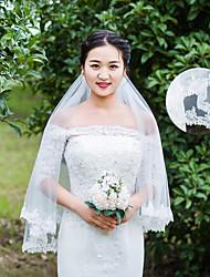 abordables -velos del codo del velo de novia de una sola capa con accesorios de boda de encaje de apliques