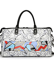 cheap -Women Bags Patent Leather Tote Pattern / Print Zipper for Formal Office & Career All Seasons Gray