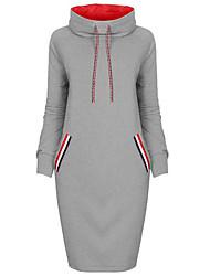 Sweatshirt Femme Sortie Couleur Pleine Col Roulé Micro-élastique Coton Automne
