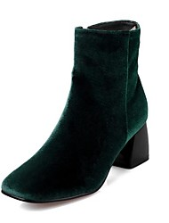 Women's Shoes Flocking Winter Fashion Boots Boots Chunky Heel Square Toe Mid-Calf Boots For Casual Black Red Green
