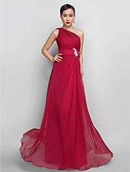 cheap -A-Line One Shoulder Floor Length Chiffon Prom Dress with Appliques by TS Couture®