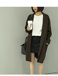 Damen Solide Einfach Ausgehen Mantel,Ständer Herbst Lange Ärmel Lang Kaschmir
