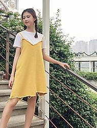 abordables -Mujer Simple Noche Verano T-Shirt Falda Trajes,Escote Redondo Un Color Manga Corta