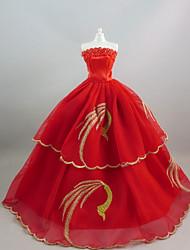 Fête / Soirée Robes Pour Poupée Barbie Rouge +Doré Robes Pour Fille de Jouets DIY