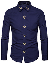cheap -Men's Going out Work Street chic Spring Fall Shirt,Solid Embroidery Shirt Collar Long Sleeves Cotton Polyester Medium