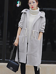 Women's Casual/Daily Simple Winter Coat,Solid Hooded Long Sleeve Long Wool
