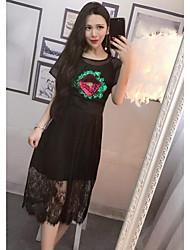 abordables -Mujer Simple Casual/Diario Verano T-Shirt Falda Trajes,Escote Redondo Floral Manga Corta