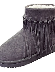 Women's Shoes PU Winter Fur Lining Comfort Snow Boots Boots Round Toe Booties/Ankle Boots For Casual Gray