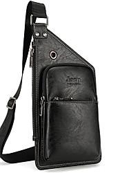 baratos -Homens Bolsas PU Sling sacos de ombro Ziper Preto / Marron Escuro / Khaki