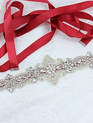 cheap -Satin / Tulle / Polyester / Cotton Wedding / Special Occasion / Party / Evening Sash With Rhinestone / Imitation Pearl Women's Sashes