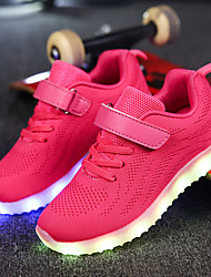 cheap -Girls' Shoes Net Fabric Winter Fall Comfort Light Up Shoes Sneakers Magic Tape LED for Casual Outdoor Black Dark Blue Gray Pink