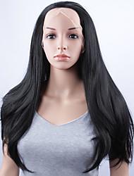preiswerte -Synthetische Perücken Glatt Natürlicher Haaransatz Schwarz Damen Spitzenfront Karnevalsperücke Halloween Perücke Promi-Perücke