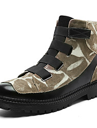 Men's Shoes Suede Fall Winter Combat Boots Boots Mid-Calf Boots Buckle For Casual Outdoor Khaki Black