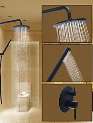 Round Shower System Wall Mount with  Ceramic Valve Oil-rubbed Bronze  Shower Faucet