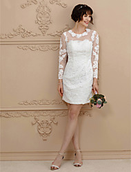Sheath / Column Jewel Neck Short / Mini Lace Wedding Dress with Beading Appliques by Amgam