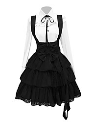 Outfits Classic/Traditional Lolita Vintage Inspired Cosplay Lolita Dress White / Black Vintage Long Sleeve Shirt Knee-length Blouse/Dress/Cravat