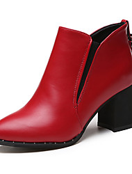 Women's Shoes Fabric Fall Winter Fashion Boots Heels Chunky Heel Pointed Toe Closed Toe Lace-up For Casual Black Gray Red