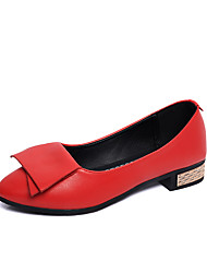 cheap -Women's Shoes PU Spring Summer Comfort Loafers & Slip-Ons Low Heel Pointed Toe For Casual Dress White Black Red