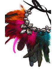 abordables -Femme énorme Pendentif de collier - énorme Large Plume Bleu de minuit Arc-en-ciel Marron Rouge de Rose Rouge Colliers Tendance Pour