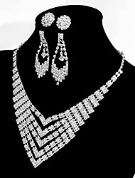 cheap -Women's Geometric Basic Elegant Chain Necklace Rhinestone Alloy Chain Necklace , Wedding Party Engagement