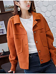 cheap -Women's Daily Simple Casual Winter Fall Jacket,Solid Shirt Collar Long Sleeve Short Cotton Polyester