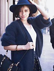 cheap -Women's Daily Regular Cardigan,Solid Shirt Collar Long Sleeves Polyester Winter Fall Medium Micro-elastic