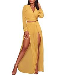 abordables -Femme Court Tee-shirt - Couleur Pleine simple, Fendu Pantalon V Profond