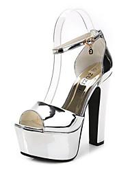 Damen Schuhe Kunstleder Frühling Sommer Komfort Neuheit Pumps Sandalen Blockabsatz Schnalle Für Hochzeit Party & Festivität Schwarz Silber