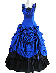One-Piece/Dress Gothic Lolita Victorian Cosplay Lolita Dress Blue Patchwork Sleeveless Lolita Dress For Cotton