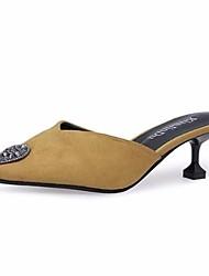 abordables -Femme Chaussures Cachemire Automne Confort Sabot & Mules Talon Aiguille Bout pointu Strass Pour Décontracté Noir Beige Rouge Vert