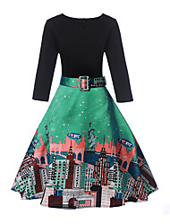 baratos -Mulheres Para Noite Moda de Rua Evasê Vestido - Estampado, Estampa Colorida Decote V Médio