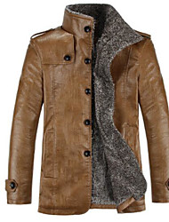 Men's Daily Simple Casual Winter Fall Leather Jacket,Solid Stand Long Sleeve Regular PU Others