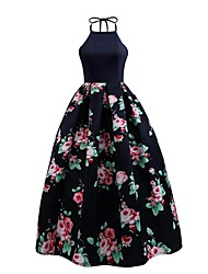 Women's Daily Sheath Dress,Floral Halter Maxi Sleeveless Polyester Summer Fall High Rise Micro-elastic Medium