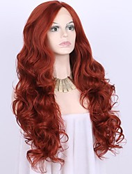 cheap -Women Synthetic Wig Lace Front Medium Length Long Curly Wavy Natural Wave Loose Wave Body Wave Deep Wave Water Wave Red Natural Hairline