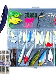 155 pcs Fishing Lures Jig Head Shad Grub Soft Jerkbaits Metal Bait Hard Bait Soft Bait Spoons Frog Minnow Crank Pencil Popper