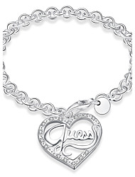 cheap -Women's Silver Plated Heart Bracelet - Silver Bracelet For Daily Casual Stage