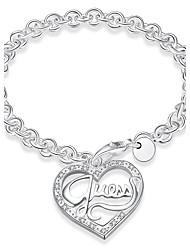abordables -Femme Bracelet - Plaqué argent Cœur Bracelet Argent Pour Quotidien / Décontracté / Scène