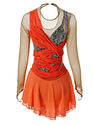 Figure Skating Dress Women's Girls' Ice Skating Dress Orange Rhinestone High Elasticity Performance Skating Wear Handmade Classic Long