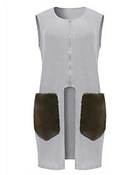 cheap -Women's Daily Plus Size Regular Vest,Solid Round Neck Sleeveless Cotton Winter Fall Medium Micro-elastic