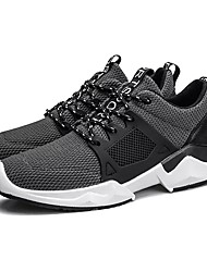 cheap -Men's Shoes Breathable Mesh PU Fabric Spring Fall Comfort Athletic Shoes Running Shoes Lace-up for Athletic Casual Black Gray