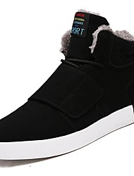 cheap -Men's Shoes PU Winter Comfort Snow Boots Boots Booties/Ankle Boots Magic Tape Lace-up For Casual Blue Gray Black
