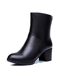 Women's Shoes Real Leather Fall Winter Fashion Boots Boots Chunky Heel Round Toe Booties/Ankle Boots Zipper For Outdoor Office & Career