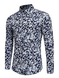 cheap -Men's Party Going out Club Vintage Active Chinoiserie All Seasons Shirt,Floral Standing Collar Long Sleeves Polyester Thin