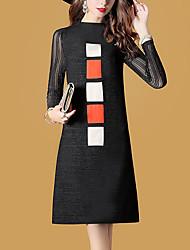 Ample Robe Femme Sortie Grandes Tailles Couleur Pleine Col Ras du Cou Mi-long Manches Longues Polyester Automne Taille Normale