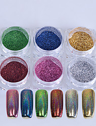 cheap -6Bottles 0.1g/Bottle Nail Art Rainbow Glisten Powder Laser Holographic Pigment