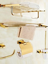 cheap -Bathroom Accessory Set Modern Style Gold Wall Mounted