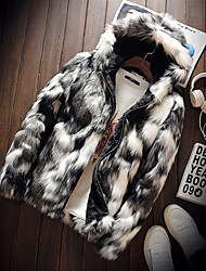 Men's Daily Going out Street chic Winter Fur Coat,Color Block Hooded Long Sleeve Regular Faux Fur Polyester