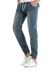 economico -Da uomo A vita medio-alta Romantico Casual Stoffe orientali Media elasticità magro Dritto Jeans Chino Pantaloni,Tinta unita Cotone