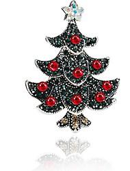 Mulheres Broches Gema Simples Doce Strass Liga Árvore da Vida Jóias Para Natal Para Noite